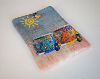 Tablet case, iPad case, iPad Air sleeve, Galaxy Tab sleeve, iPad sleeve, eReader case, Tablet sleeve, iPad sleeve, Kindle case, VW van hippy