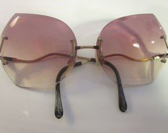 Vintage Angular Rose Tinted Designer Oversized Butterfly Sunglasses