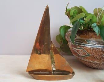 Brass Sail Boat Figurine/Statuette. Brass Boat.