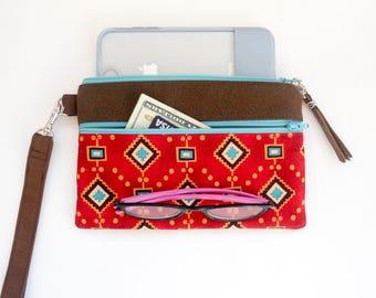 Tribal Phone Case Wristlet, Cotton Fabrics and Vegan Leather Fits iPhone X, 7, 8 Plus