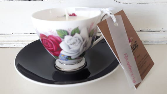 Tea cup candle. Scented soy wax vegan vintage tea cup candle, with raspberry. Vegan candles. Organic soy. Made in Wales