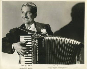Young Lawrence Welk accordion player bandleader antique music photo