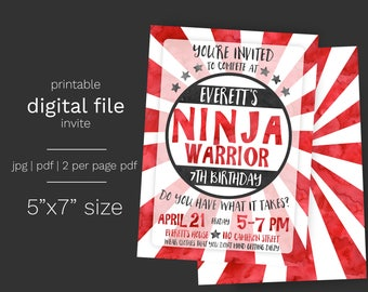 Ninja Warrior Birthday Party Invitation DIGITAL FILE Watercolor Boy Ninja Invite American
