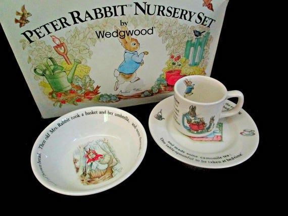 Wedgewood Peter Rabbit Nursery Set, Beatrix Potter Design, Complete Set, Baby Shower Gift for Baby