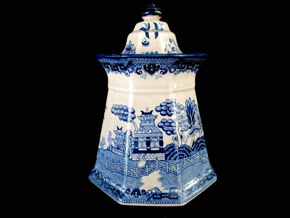 Vintage Canister, EC Challinor, Fenton Ironstone China, Blue Asian Design Canister, Ginger Cookie Jar