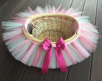 Tutu easter basket flower girl basket tutu basket rose pink and mint green tutu basket tutu basket birthday tutu gift negle Gallery