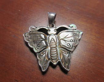 Sterling Silver Abalone Butterfly Pendant Signed Charles Albert