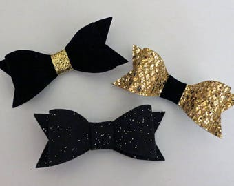 Set of 3 Black & Gold  Felt Hairbow Clippies - Baby Girl Bows, Baby Shower Gifts