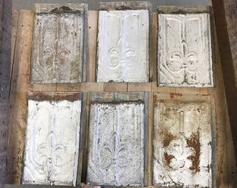 "Set of 6, Antique Tin Ceiling Tiles, Fleur de Lis Pattern from New Orleans, Rectangular Tiles 14""w x 32""h"
