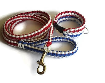 PawAcord Patriotic Non-Adjustable Trio Color Paracord Dog Collar and Leash- Cute Dog Collar - Strong Dog Collar in Red, White and Blue