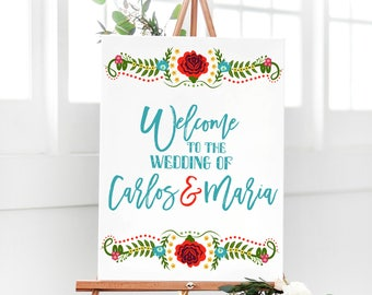Floral Fiesta Wedding Welcome Sign - Mexican Fiesta Sign - Welcome Fiesta Wedding Sign