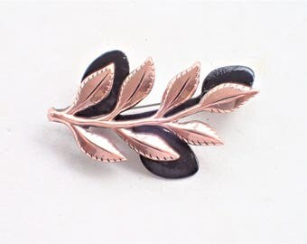 Mid Century Mod Copper and Enamel Matisse Laurel Design Leaf Brooch