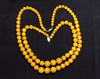 Two Big And Chunky Egg Yolk Lucite Speckled Graduated Strand Necklaces