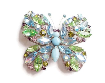 Pastel Blue and Green Aurora Borealis Signed REGENCY Large Butterfly Figural Brooch