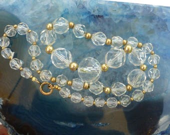 Vintage Simmons Crystal Faceted Graduate Bead Necklace Gold Filled Clasp and Spacer Beads