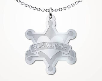 Deputy Sheriff Mom Necklace - Proud Mother Sheriffs Charm Pendant Jewelry Gift
