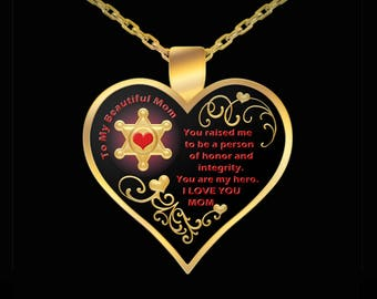 Deputy Sheriff Mom Necklace - Heart Gift Mother Sheriffs Love Pendant Jewelry (Choice of Metal)