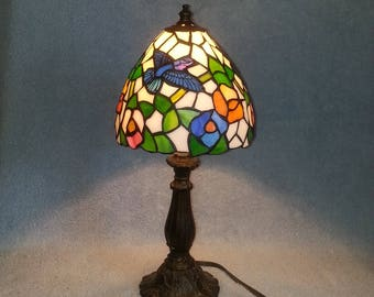 Stained Glass Lamp - Hummingbird and Floral Motif