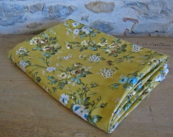 Yellow floral fabric, vintage Italian flower print fabric, over 3.5 yards