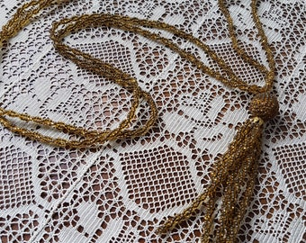 Lovely vintage retro multistranded necklace in gold colour