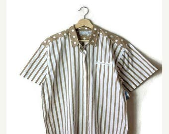 ON SALE Vintage Oversized Beige/White Polka Dots/Stripe Short sleeve Cotton Blouse from 80's*