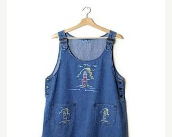 ON SALE Vintage Lighthouse Printed  Denim Jumper Dress  from 90's*