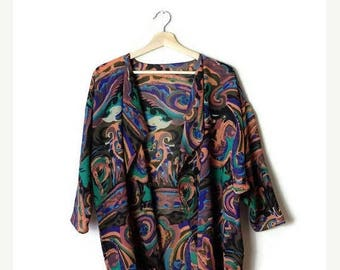 ON SALE Vintage  Colorful Abstract Sheer Slouchy Cardigan from 1980's*