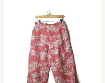 ON SALE Faded Red x White Hibiscus Printed Pure Linen Cropped Pants*
