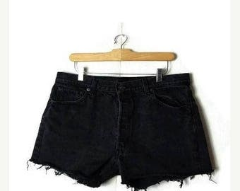 ON SALE Vintage  LEVI'S 501  Black  Denim Cut off Shorts from 80's/W33*