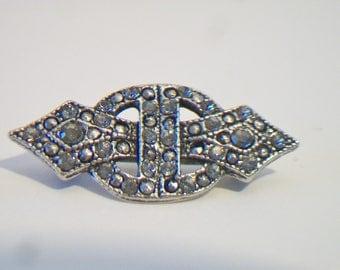 Vintage Art Deco Style Brooch Pin Rhinestone Elegant Costume Jewelry