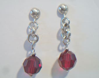 Red Swarovski Crystal Chain Link Earrings Sterling Silver Dangle Jewelry