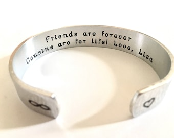 Cousin Gift, Cousin Bracelet- Personalized BraceletSister Bracelet / Personalized Gifts for Christmas, Weddings, Birthday- by TheSilverSwing