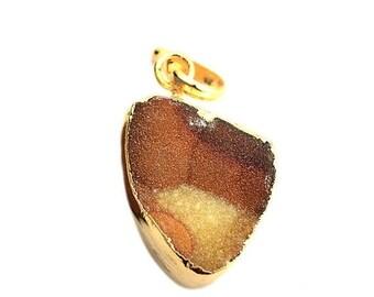 Rough Geode Druzy Pendant 22k Gold Electroplated Gemstone Druzy Necklace Pendant GemMartUSA (NP-50853)