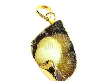 50% OFF Rough Geode Druzy Pendant 22k Gold Electroplated Gemstone Druzy Necklace Pendant (NP-50884)