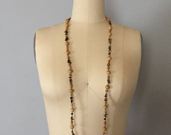 1970s long beaded necklace | stone and beads necklace