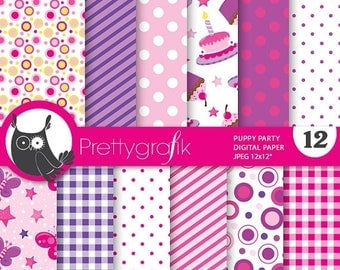 80% OFF SALE Birthday party paper digital papers, commercial use, scrapbook papers, background - PS702