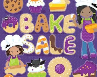 80% OFF SALE Halloween clipart, dessert,  treats commercial use, bake sale vector graphics, digital clip art, african american - CL1094