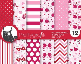 80% OFF SALE Valentine Animals digital paper, commercial use, valentine scrapbook papers, background papers, valentine papers - PS776