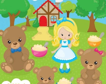 80% OFF SALE Goldilocks clipart commercial use, three bears vector graphics,  digital clip art, polar bear images - CL1049
