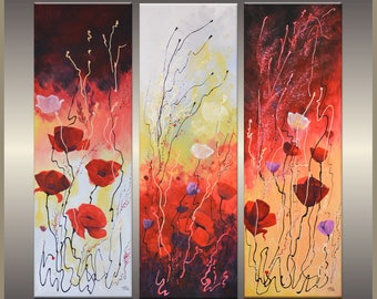 Original painting poppy fascination Canadian poppies acrylic painting triptych
