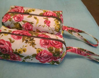 Floral Red Rose Boxy Zipper Bag Makeup Pouch Pen Case