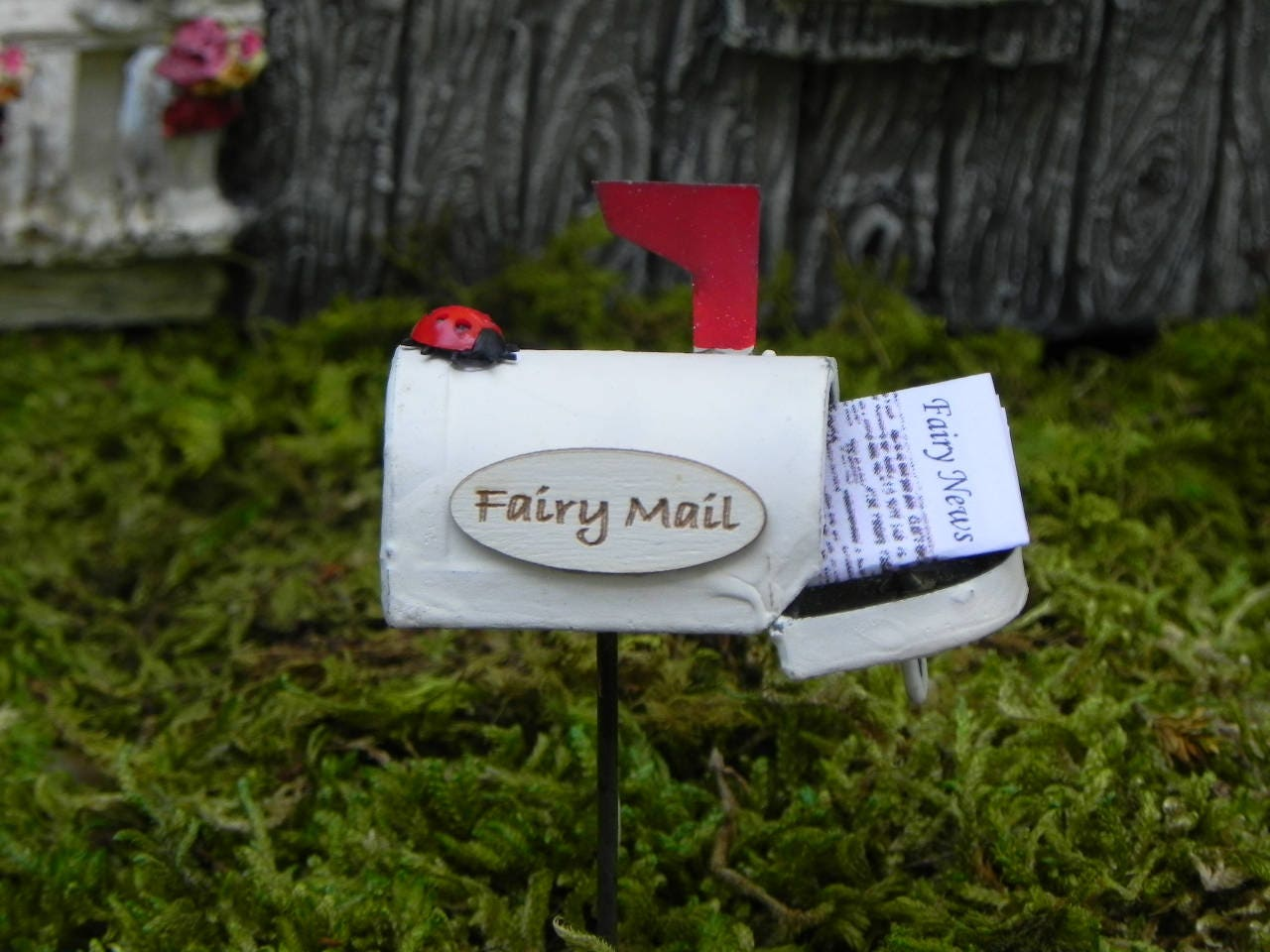 Fairy miniature mailbox fairy mail fairy news newspaper for Little fairy mailbox