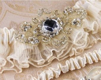 SUMMER SALE Wedding garter set, Ivory Lace Garter Set, Ivory Bridal Garter Set, Rhinestone Garter, Ivory Lace Bridal Garter, Personalized Ga