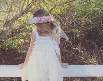 Ivory Lace Chiffon Dress and flower headpiece