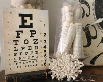 Vintage EYE CHART Wood Sign Print Farmhouse Decor Page Wall Art Print  Fixer Upper Decor
