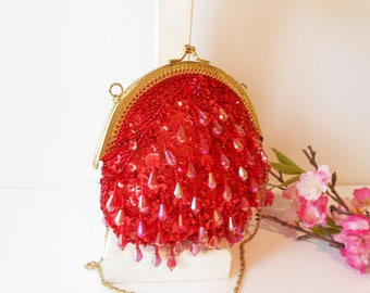 Red Evening Bag, Red Beaded Bag, Vintage Red Purse, Red Bead Clutch, Beaded Clutch, Red Glam Bag EB-0236