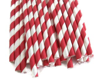 Red Stripe Paper Straws 25 Count | Red Stripe Party Straws | Red and White Stripe Paper Straws |  Striped Paper Straws | Christmas Straws