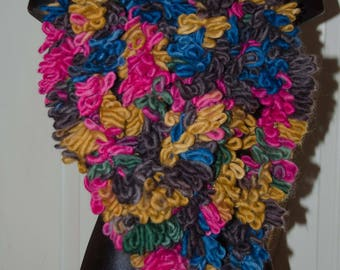 Colorful Finger Knit Loop Scarf Jumbo Knit Cowl / Infinity Scarf * Gift for Her * Rainbow of Colors