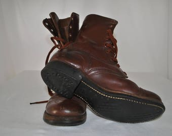 US Army, Boots, Slipknot, World War, Two, Military, Cap Toe, M, 1948, Russet, Brown, Leather, Size, Men's, 6, Wide, Women's, 8, Wide