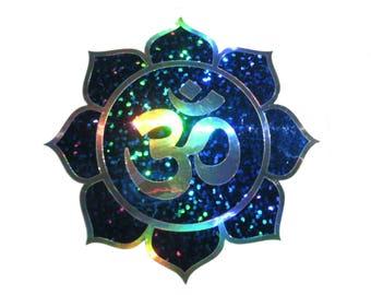 Om Lotus, Blue Sparkle, Rainbow Silver decal, size 13cm
